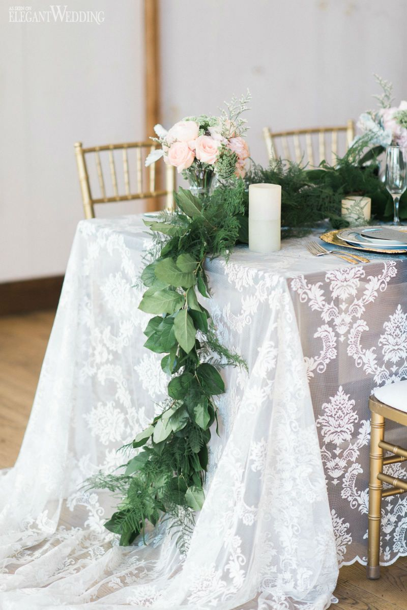 Flowing greenery wedding table setting, soft rustic wedding table ...