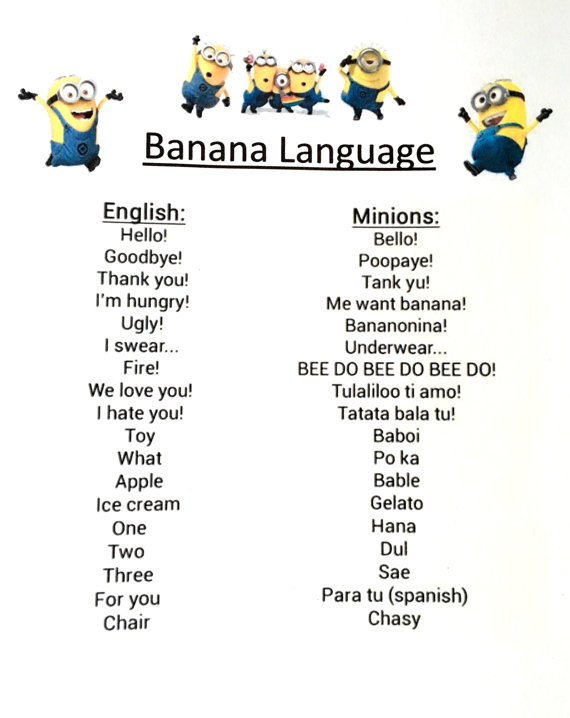Minion Despicable me inspired idea for kids birthday Party decoration Banana Language PRINTABLE Instant Download