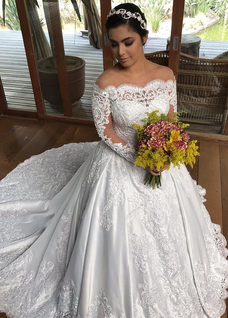 Romantic Lace Off-the-shoulder Ball Gown Wedding Dress - VQ