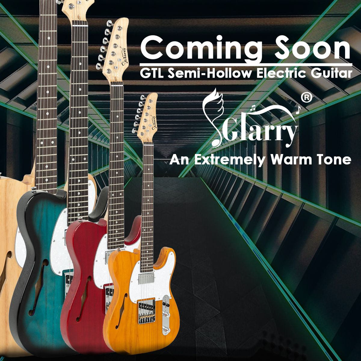 Glarry Gtl Semi Hollow Electric Guitar Hs Pickups F Hole Blue Burlywood Wine Red Transparent Yellow Glarrymusic Electric Guitar Guitar Electricity