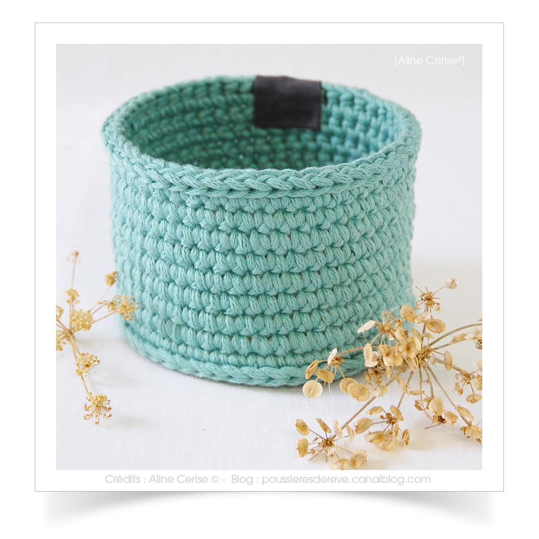 mini panier ou cache pot lagon r alis au crochet avec du fil coton natura xl dimensions ext. Black Bedroom Furniture Sets. Home Design Ideas