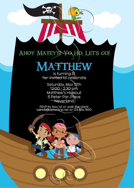 Custom printable jake and the neverland pirates birthday party custom printable jake and the neverland pirates birthday party invitation filmwisefo