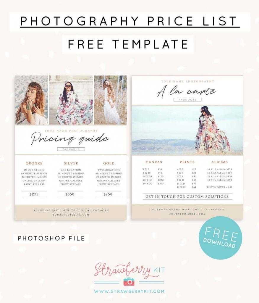 Photographer Price List Template Free Photography Price List Template Photographer Price List Templates Free Photography Templates