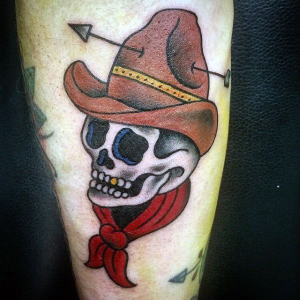 Vintage Hat Tattoos: American-traditional-skull-in-cowboy-hat-with-arrow-tattoo