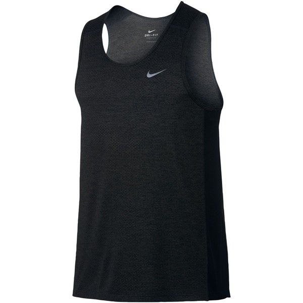 Nike Men's Breathe Miler Running Tank Top ($35) ❤ liked on Polyvore featuring men's fashion, men's clothing, men's shirts, men's tank tops, black, nike mens shirts, mens mesh shirt, nike mens tank tops, mens tank tops and mens mesh tank top