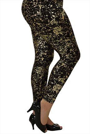 dd1761a01b6a3a Make an entrance: black & gold splatter print leggings | Leggings ...