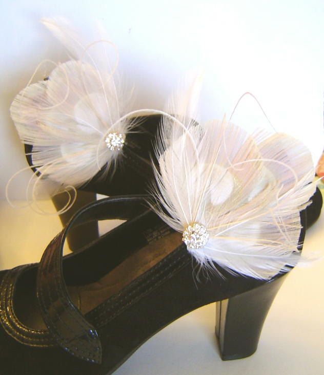 Bridal Ivory Peacock Feather  Shoe Clips with Rhinestones  Wedding Party Bridesmaid. $36.00, via Etsy.