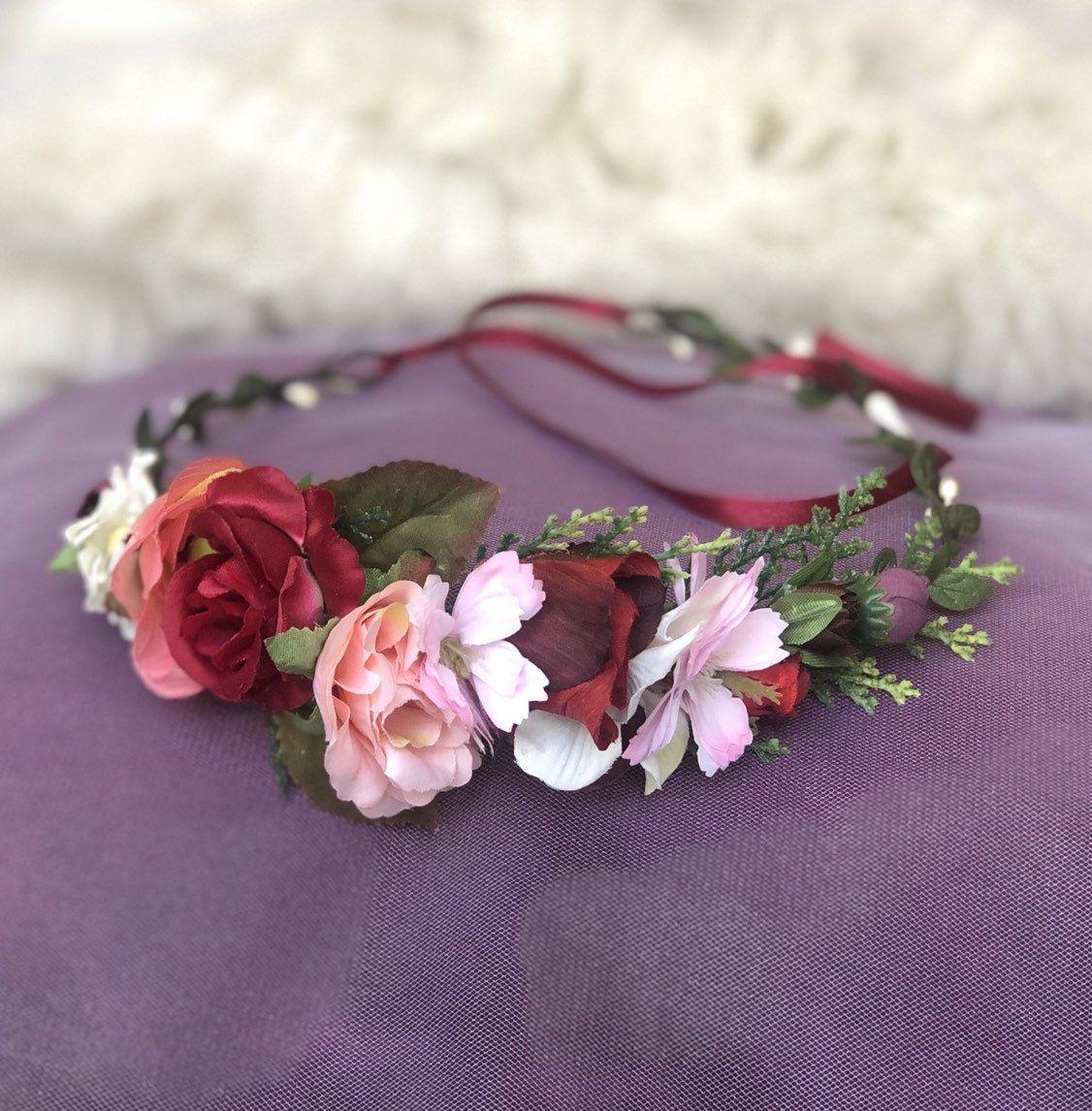 Burgundy blush flower crown wedding headpiece bridal
