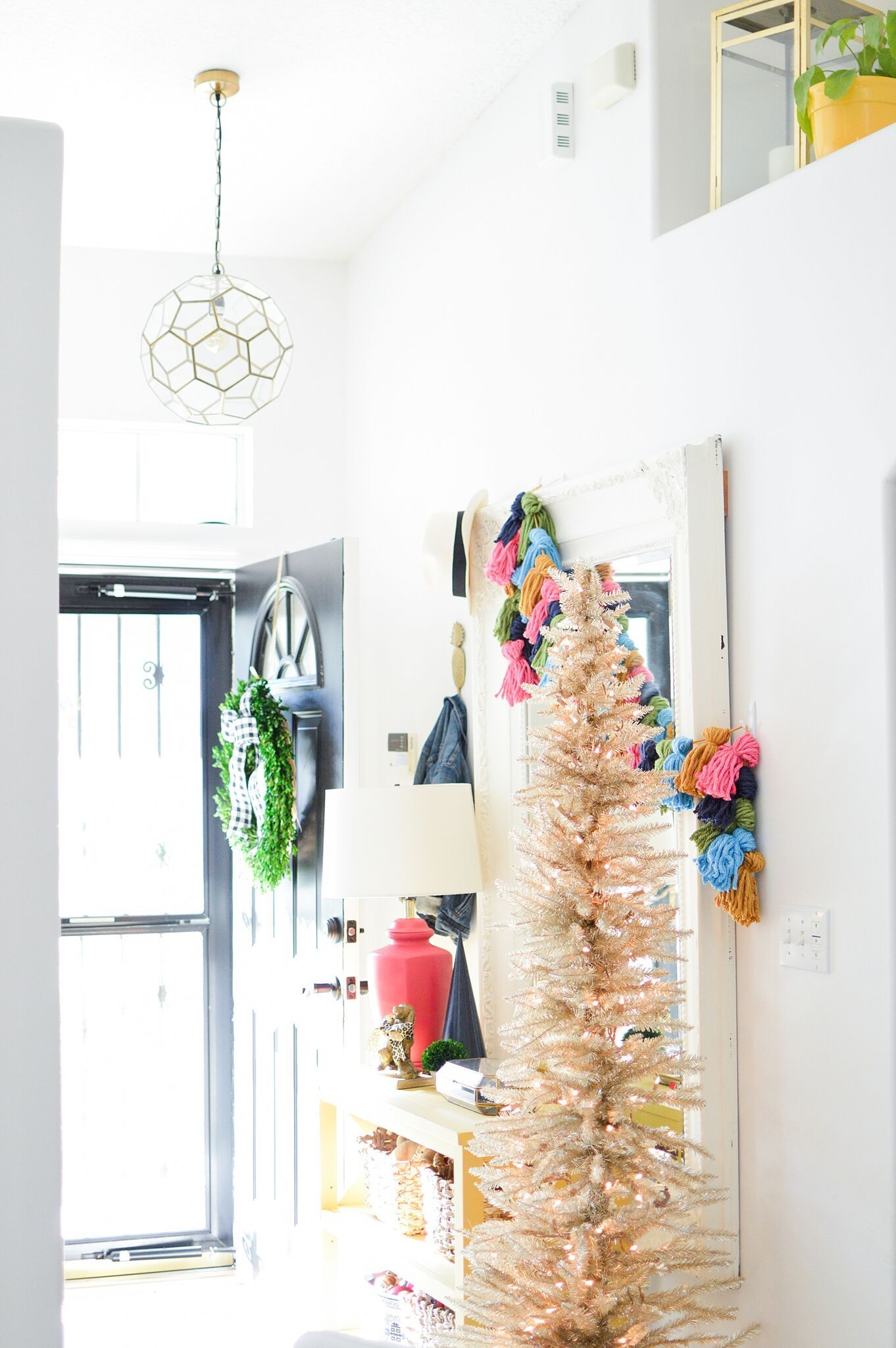 Christmas Eclectic Home Tour - love the slim white Christmas tree in ...