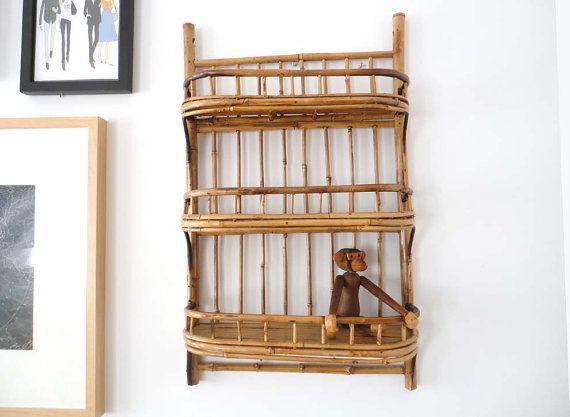 Mid Century Bamboo Rattan Wall Shelf Wall Shelves Bamboo Wall Shelves