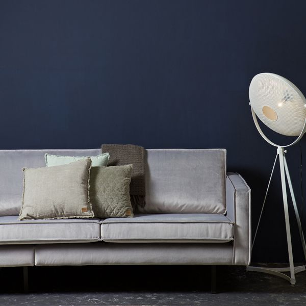 3 Sitzer Sofa RODEO Samt hellgrau Lounge Couch Garnitur