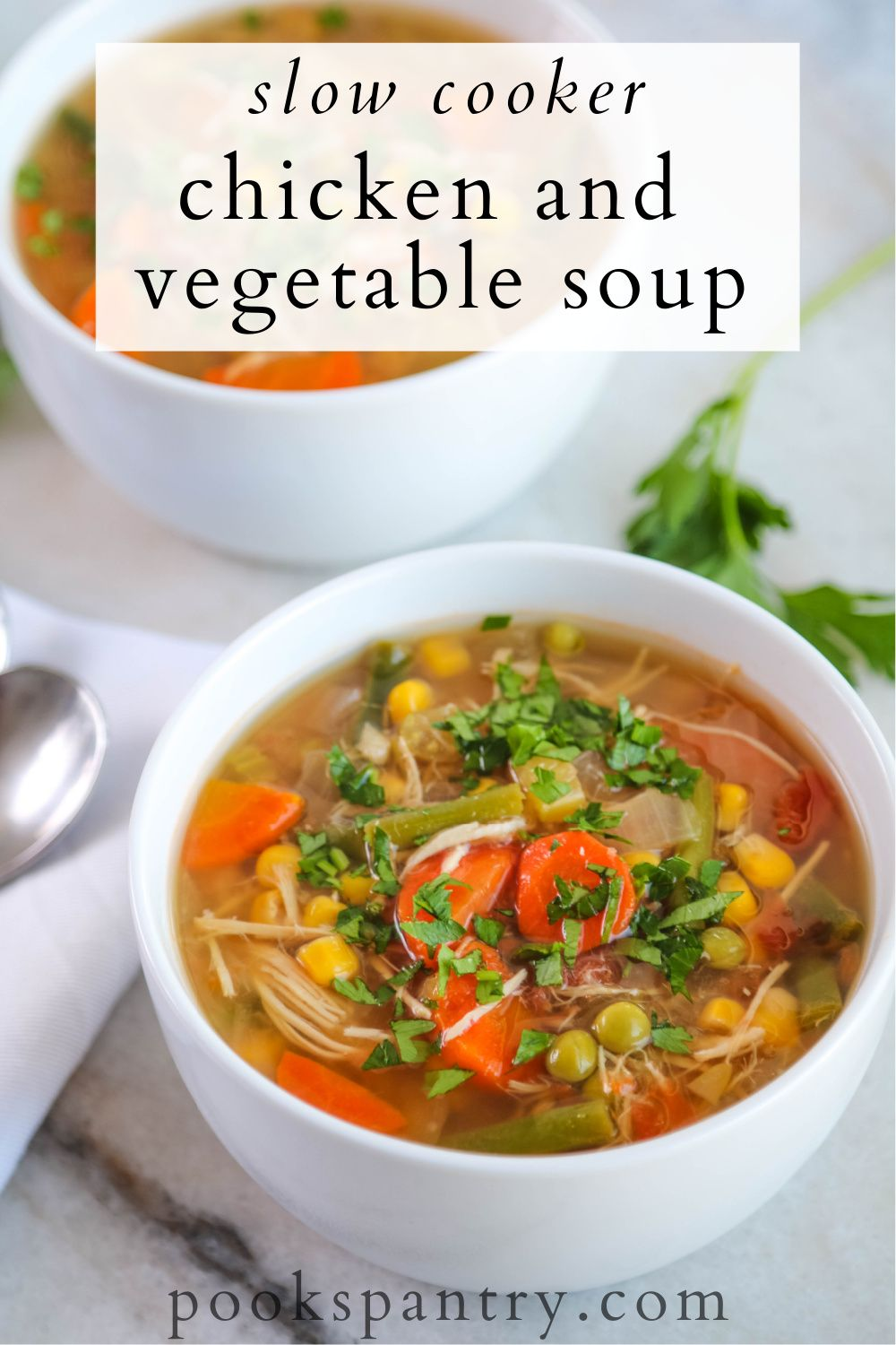 Crockpot Chicken Vegetable Soup Pook S Pantry Recipe Blog Recipe In 2020 Vegetable Soup With Chicken Slow Cooker Chicken Crockpot Chicken