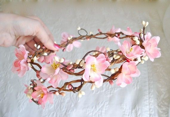 Sakura Dreams A Cherry Blossom Crown Etsy Cherry Blossom Crown Cherry Blossom Wedding Flower Head Wreaths