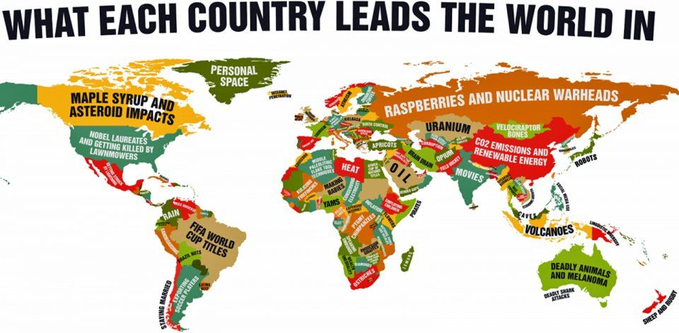 This Funny World Map Shows What Every Country Leads The World In - Map of the world with countries