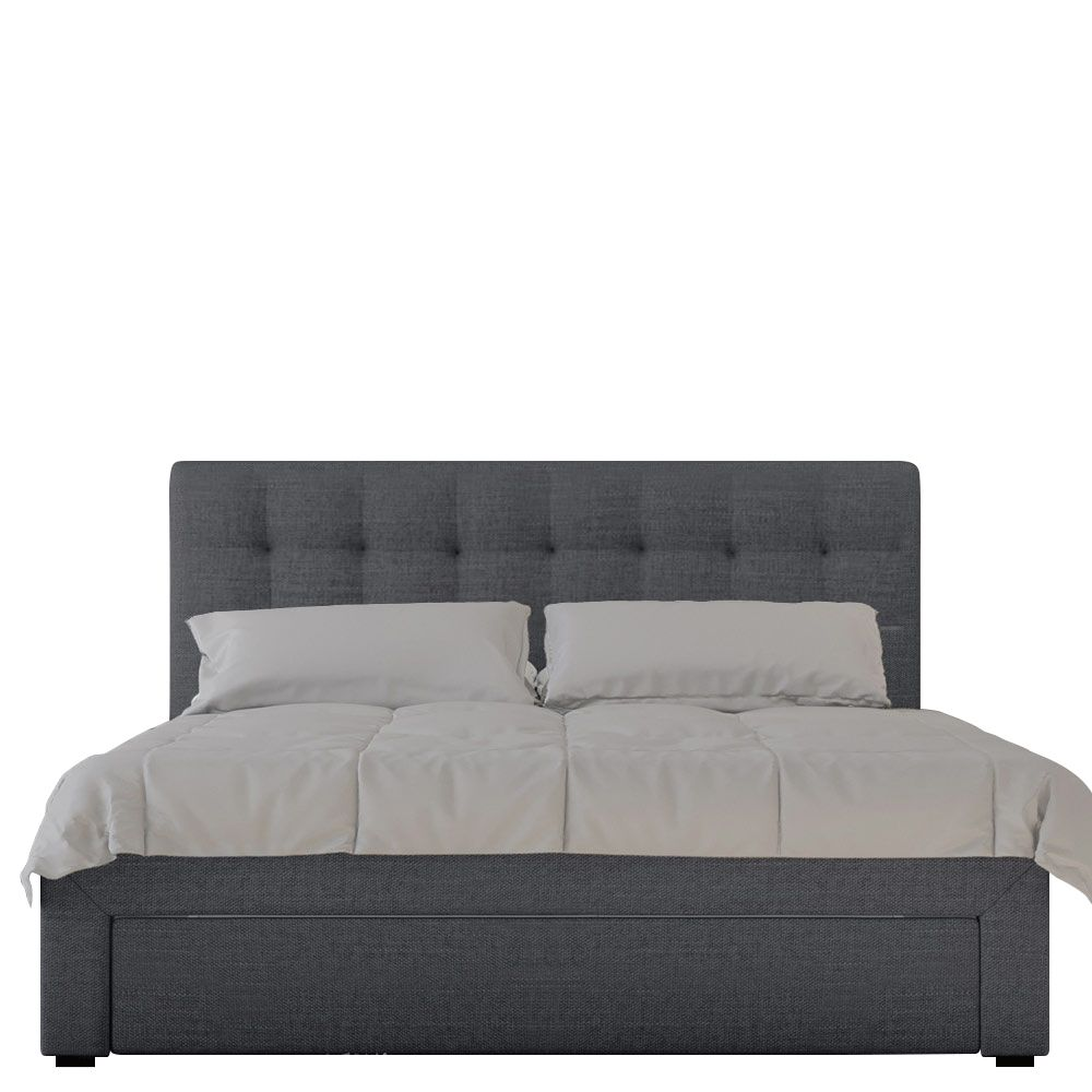 Storage Beds Australia Martina Fabric Bed With Storage Drawers Double Dark Grey House