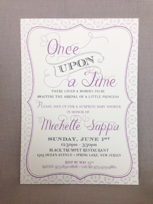 Once Upon a Time Fairytale Baby Shower Invitation - Lavender & Grey ...