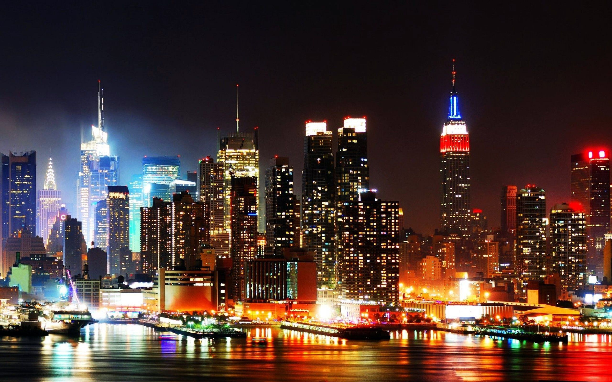 Wallpaper New York City USA Megapolis night time Cities Houses
