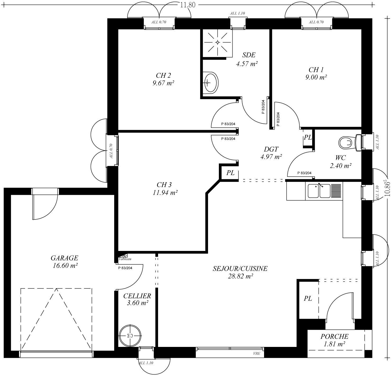 Plan maison plain pied avec patio central 1 plans - Creation de maison virtuelle gratuit ...