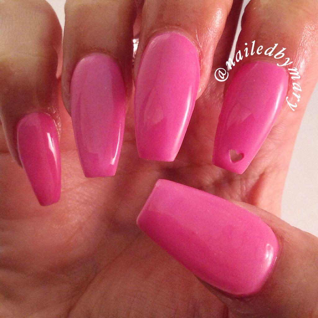 Pink coffin ballerina acrylic Valentine hollow heart love nails ...