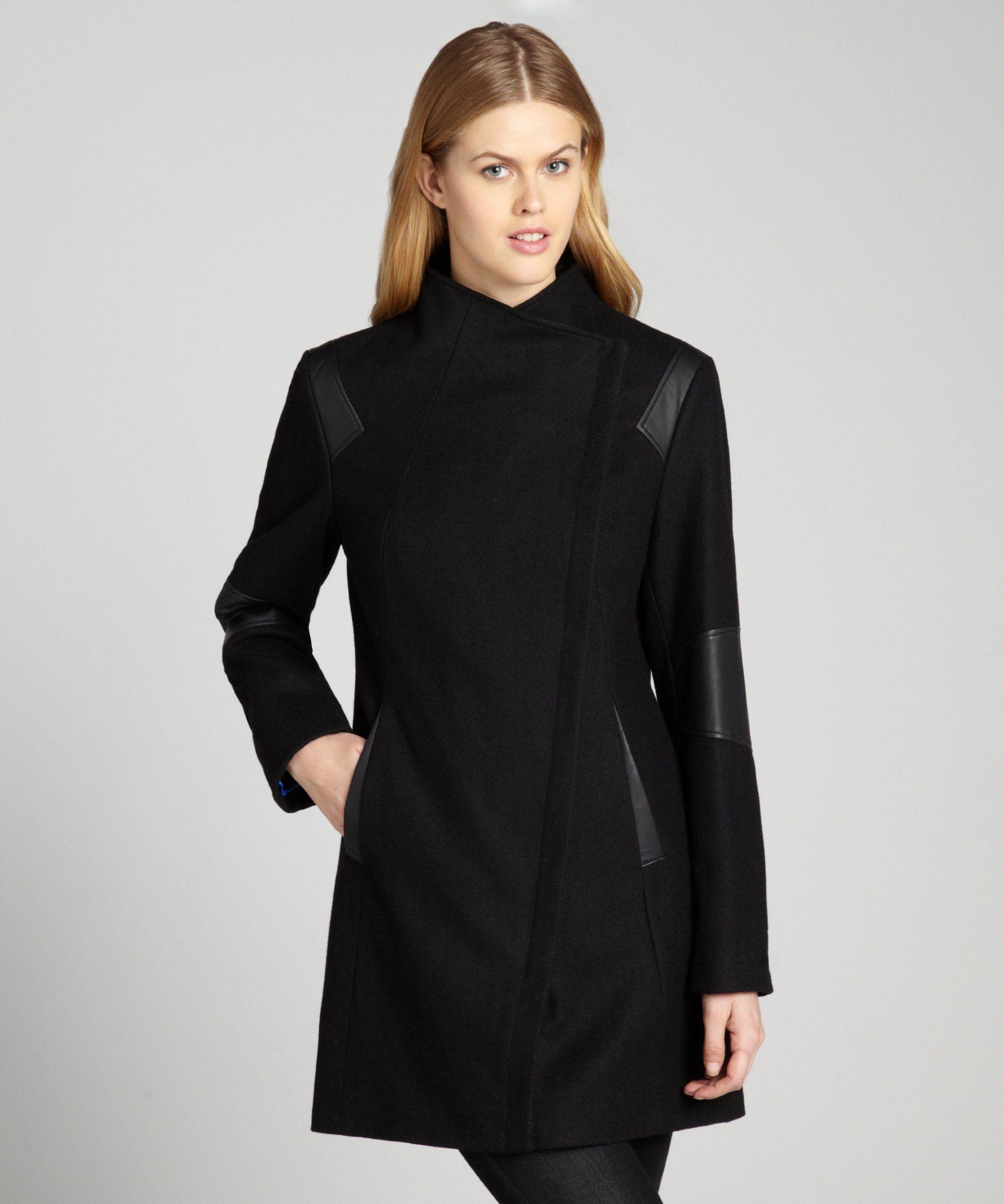 Calvin Klein black asymmetrical wool coat with faux