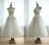 Реальные фотографии Украшение из слоновой кости тюль без бретелек чай длина дешевой цене короткие бальное платье свадебное платье с кнопки