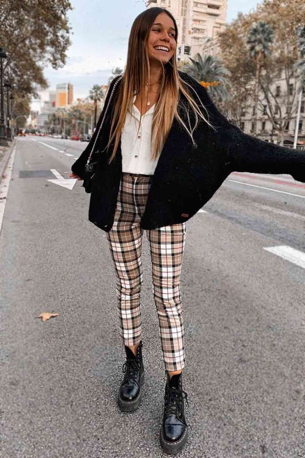 Plaid Pants With Black Cardigan  – Style