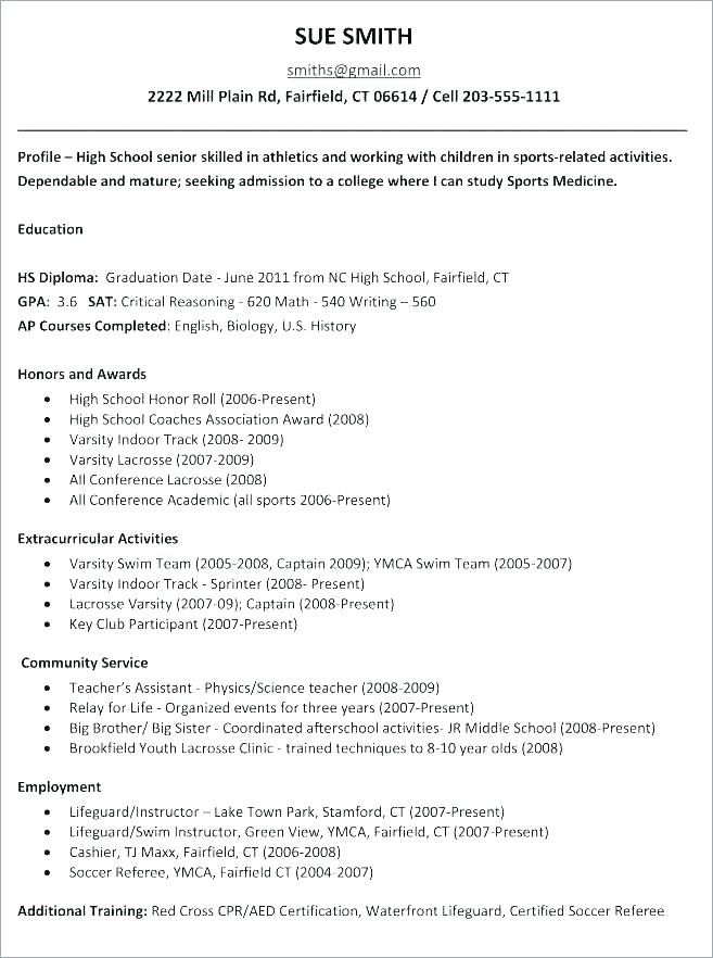 College Application Resume Outline College Admissions Resume Template College Entrance Resume High School Math High School Education College Application Resume