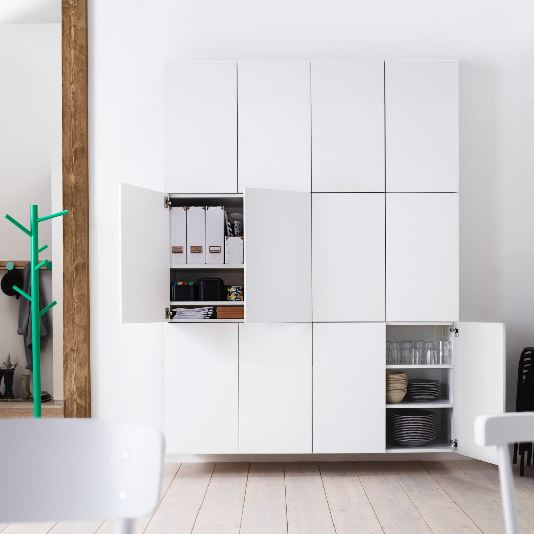 kitchen remake : Wall of double-door IKEA kitchen cabinets, stacked ...