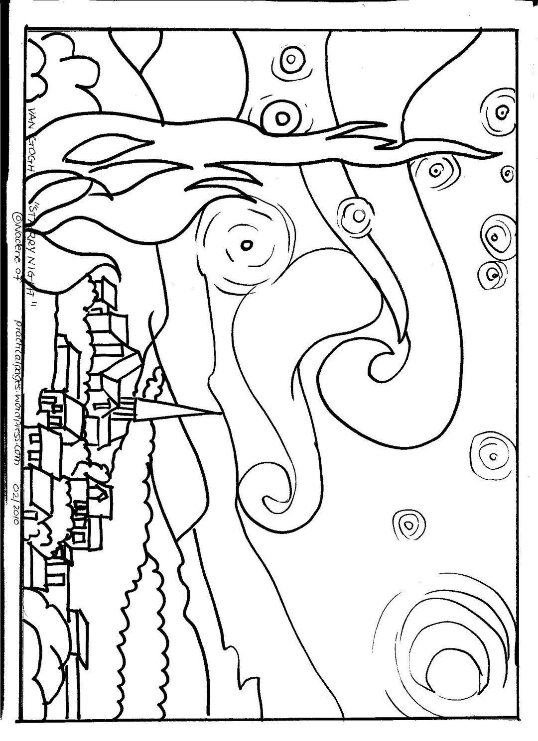 Simple Starry Night Van Gogh Coloring Pages Starry Night Art Van Gogh Coloring Starry Night Van Gogh
