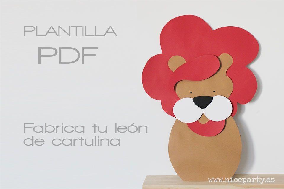 Plantilla imprimible figura león | El león, La dirección y Las plantas