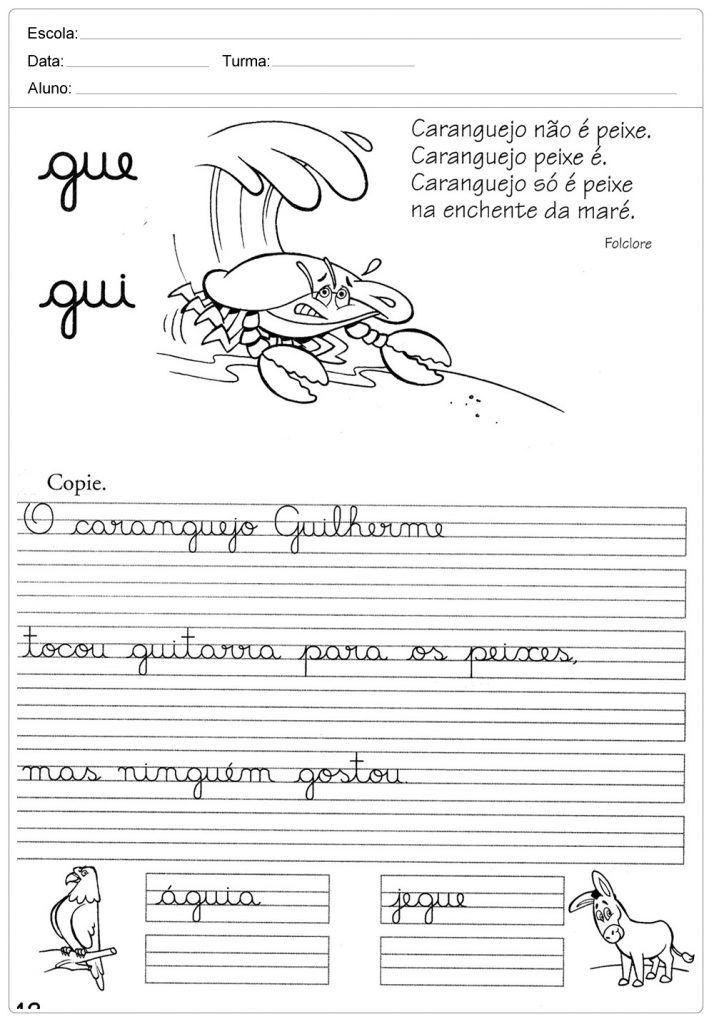 Atividades De Caligrafia Com A Letra Q Para Imprimir Com
