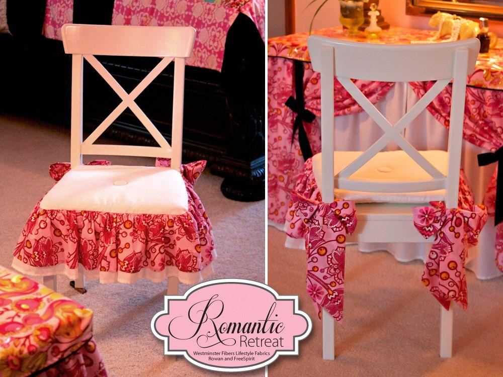 A Bedroom Retreat With Rowan Freespirit Fabrics Bows Ruffles Vanity Chair Cushion