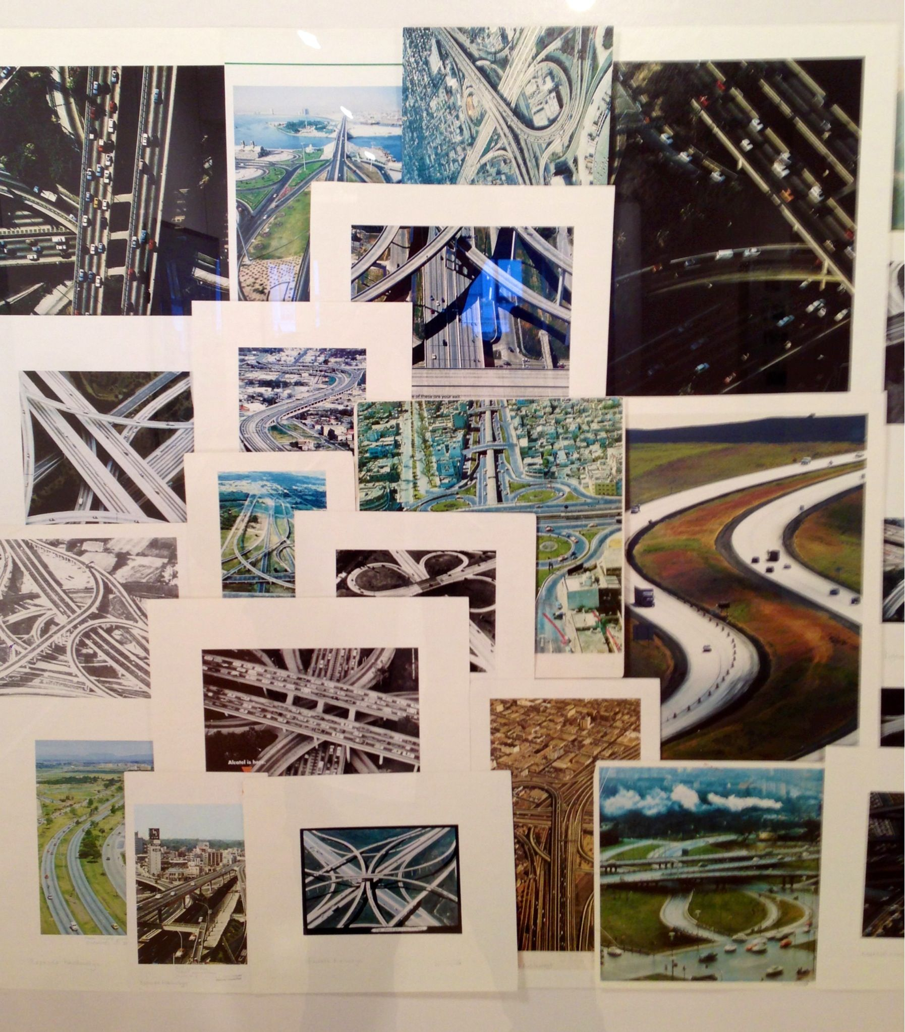 """Taryn Simon's """"Roadways"""" collage from historic photos archived at the New York Public Library. On display at the  John Berggruen Gallery in SF."""