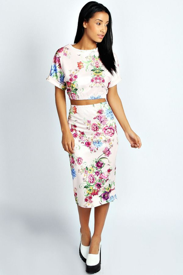 52c8d58b1d Boohoo June Floral print crop top and midi skirt co-ord set on shopstyle.com