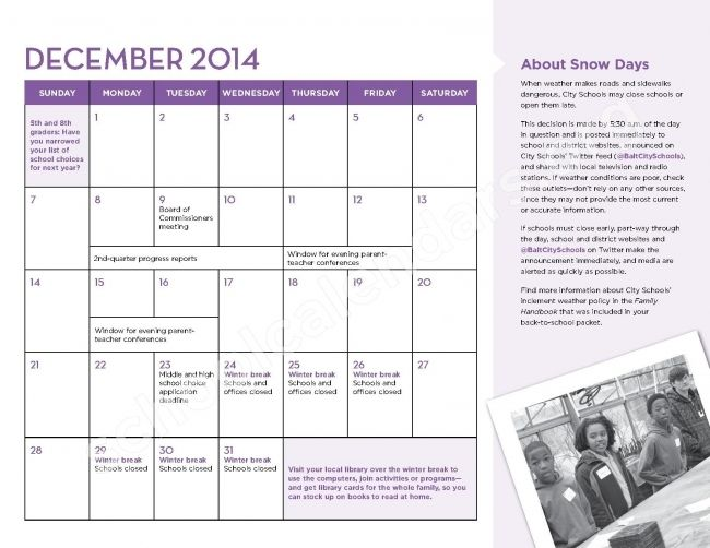 Baltimore City Schools Calendar Printable News To Go 2 Pinterest