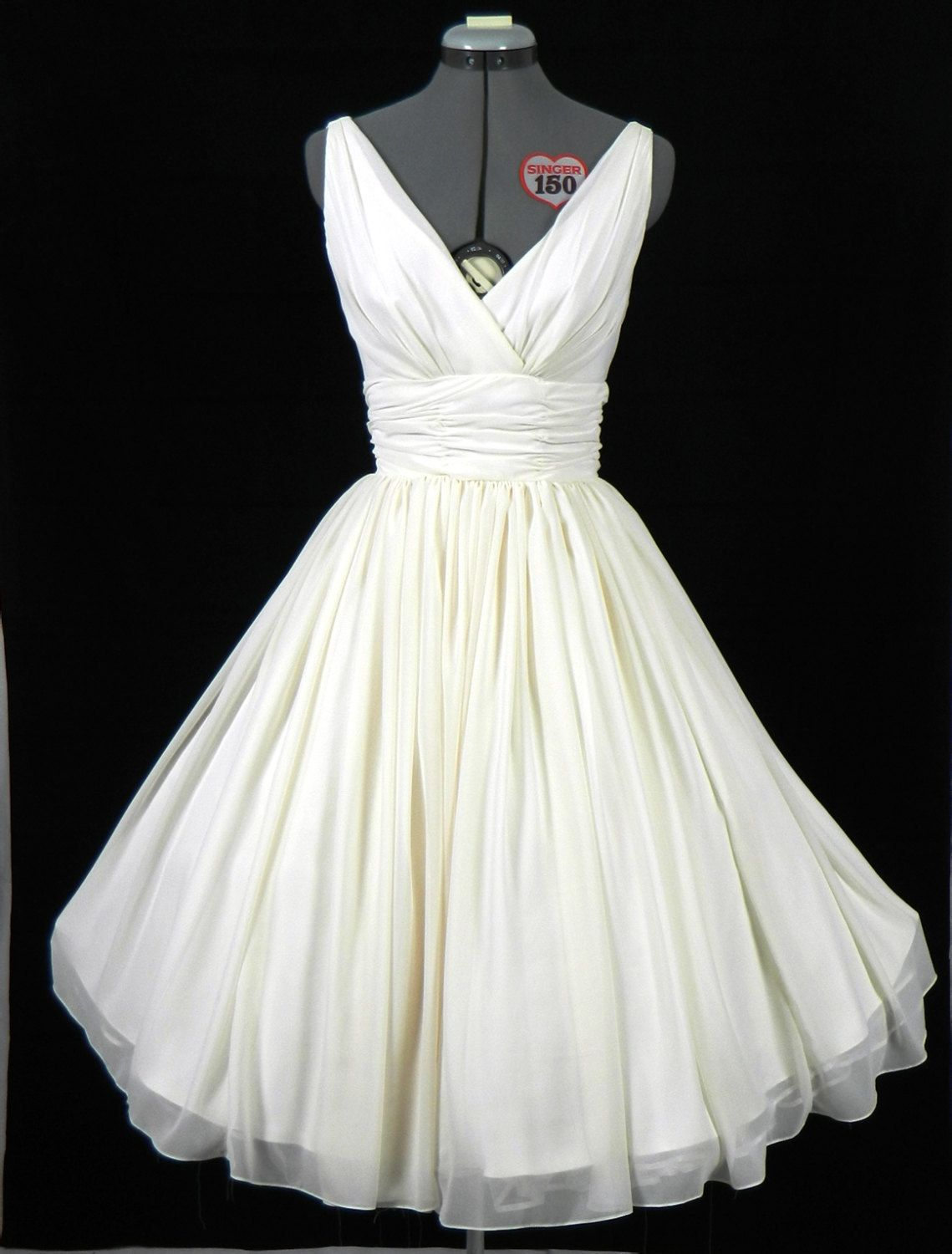 Simple and elegant 50s style dress. Ivory chiffon overlay ...