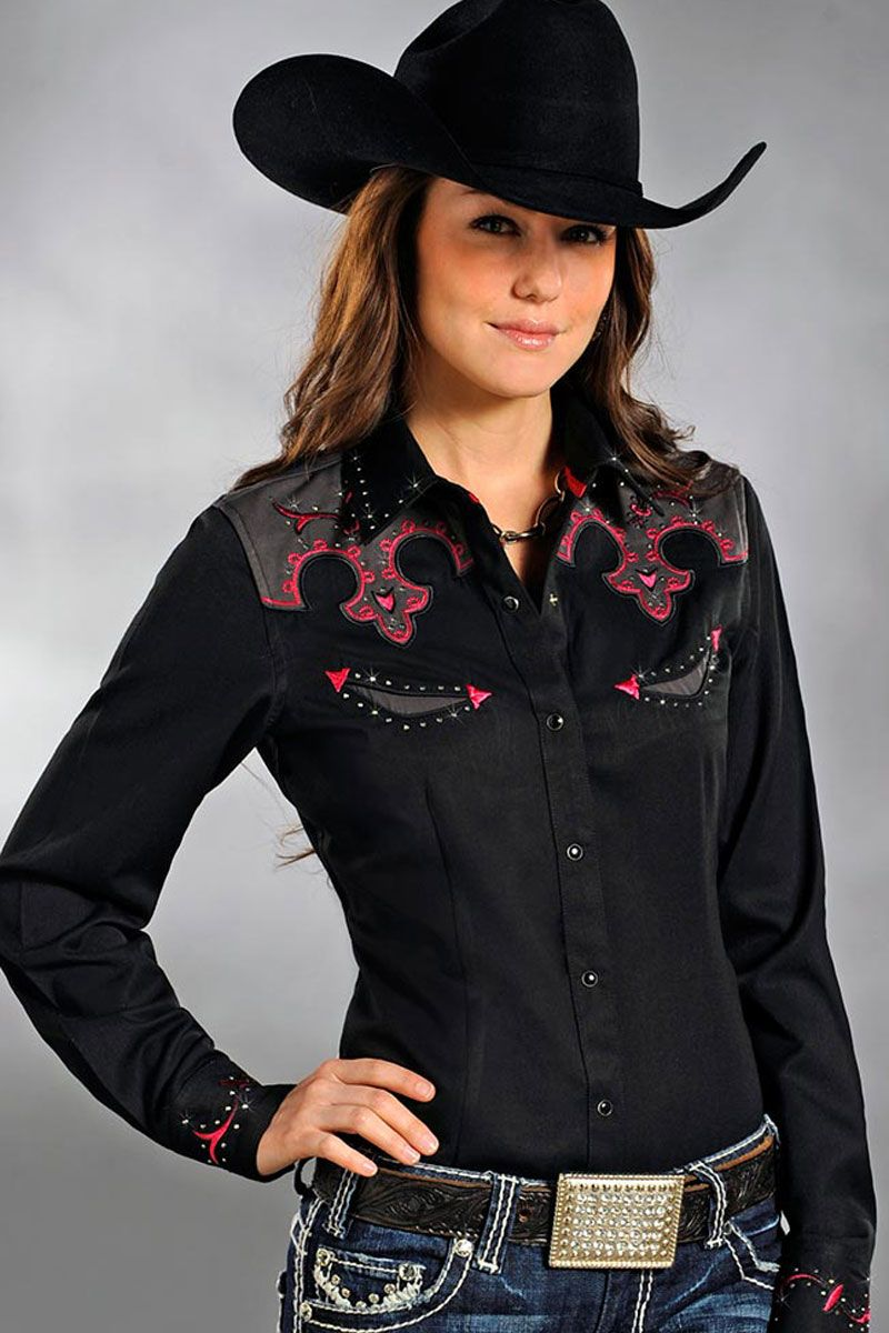 Panhandle slim women 39 s pink black rodeo shirt on sale for Ranch dress n rodeo shirts