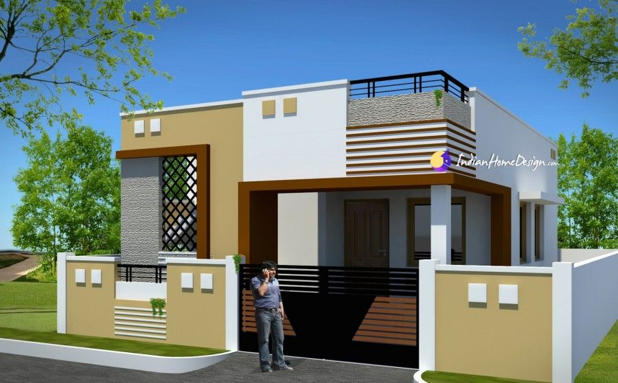 Contemporary Low Cost 800 Sqft 2 Bhk Tamil Nadu Low Cost Home
