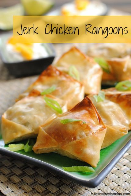 Jerk Chicken Rangoons w/ Mango Sour Cream - a sweet and spicy, crunchy party bite that's simple but impressive!
