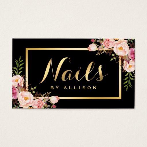 Nail Technician Salon Black Gold Floral Script Business