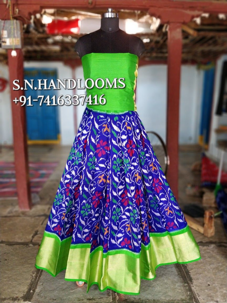 POCHAMPALLY IKKAT PURE SILK LEHENGAS available in stock for more