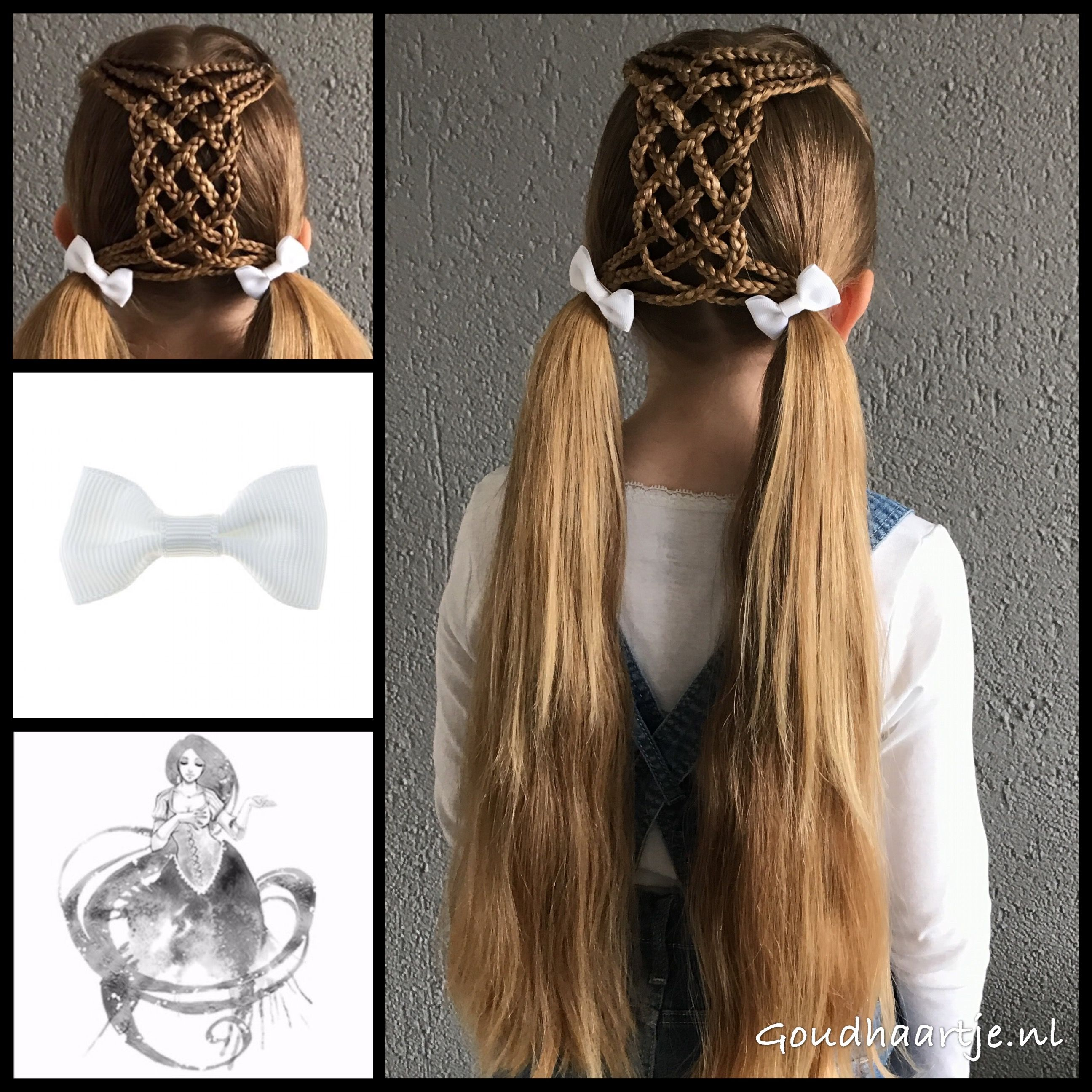 Pigtails with a six strand braid and cute bows from the webshop
