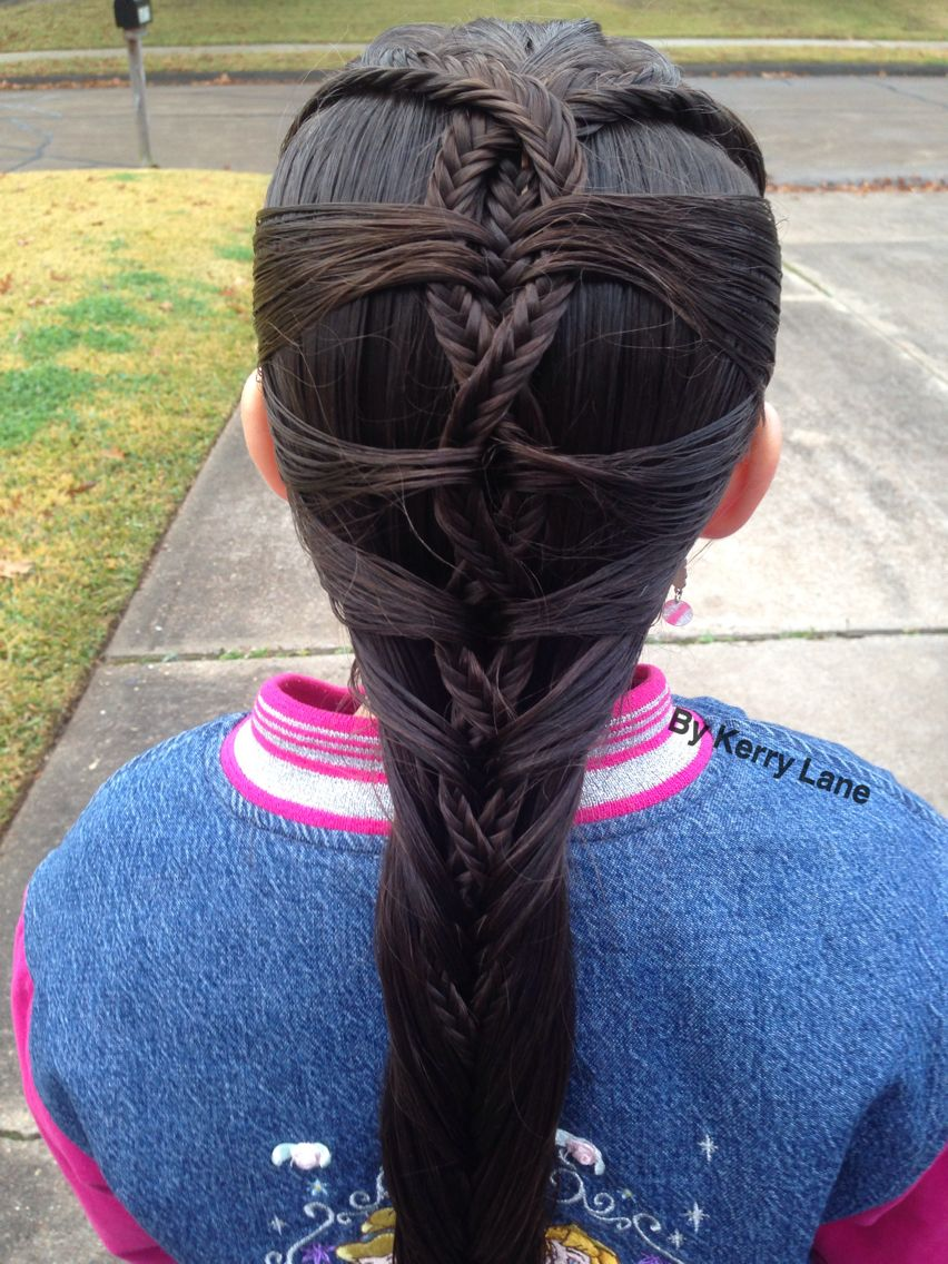 I don't know what this braid is called but it has 3 Fishtail Braids pulled with a Mermaid Style ...