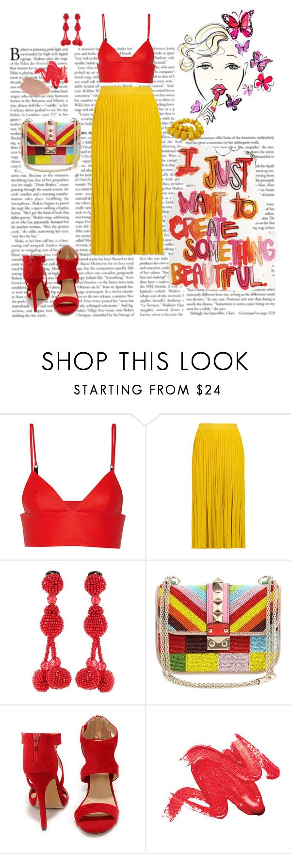 """""""Без названия #862"""" by alina-mussaevna ❤ liked on Polyvore featuring T By Alexander Wang, Vionnet, Oscar de la Renta, Valentino, Liliana and MAKE UP FOR EVER"""