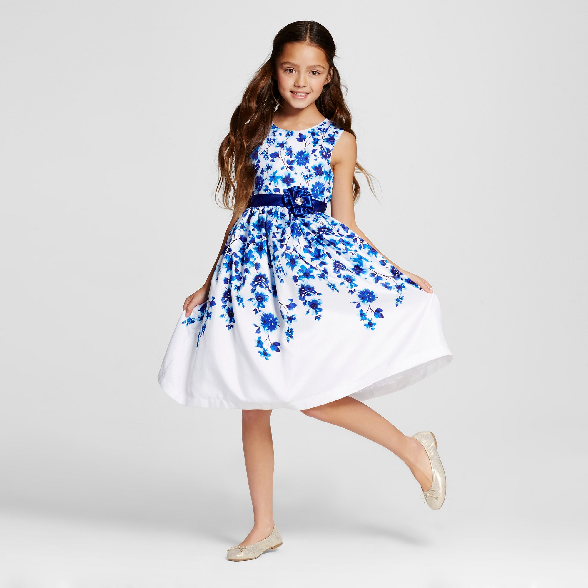 314e6cdfcf3 Girls  Young Hearts A-Line Floral Dress - White 12
