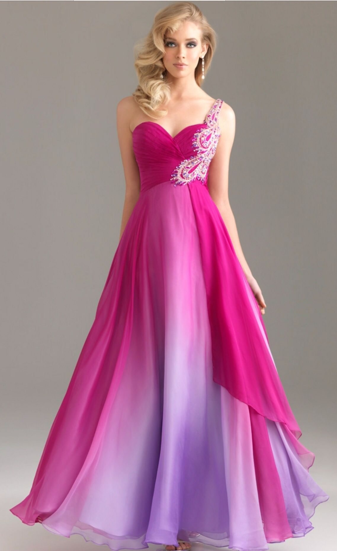 Long faded pink dress with embellishment dresses pinterest