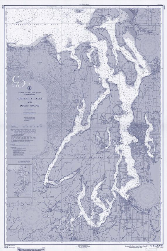 Puget sound washington state nautical chart map 1957 blue digital