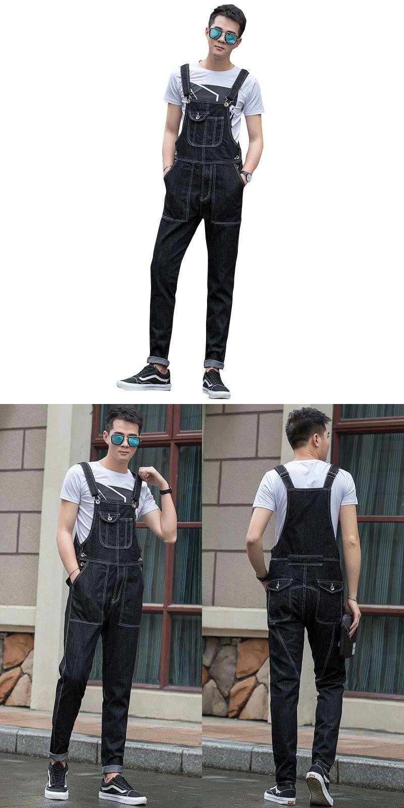 0d2dcb43788 2017 New Bib Denim Overalls For Men Brand Long Solid Black Slim Cowboy  Overall Cotton Skinny Overalls Men s Jeans Size S-5XL
