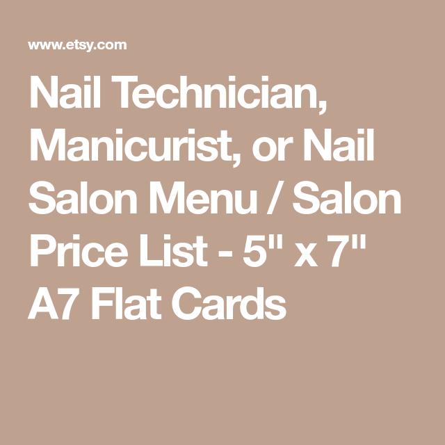 Nail Technician, Manicurist, or Nail Salon Menu / Salon Price List ...
