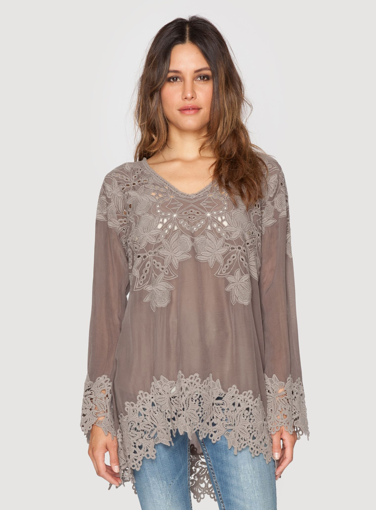 Johnny Was Clothing LACY V-NECK TUNIC in  Safari Grey